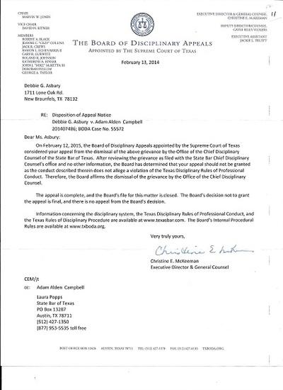 TEXAS' Board of Disciplinary Appeals PROHIBITS Texas